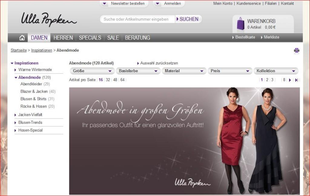 Website von Ulla Popken